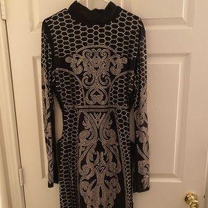fashion nova black and gold dress